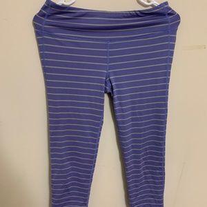 Athleta Purple Striped Capri Leggings
